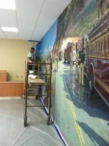 Firefighters Mural install 2