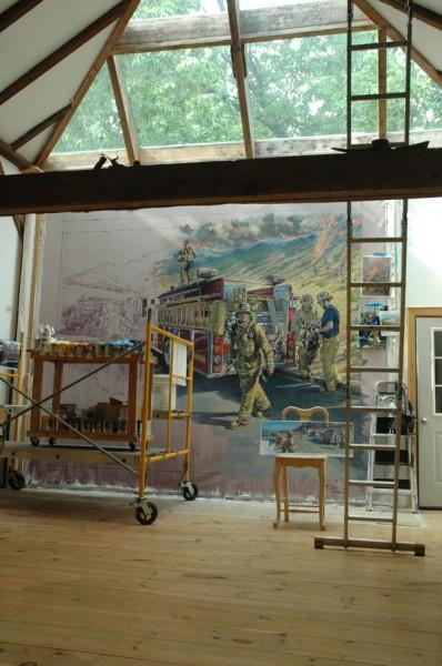 Firefighters Mural in progress
