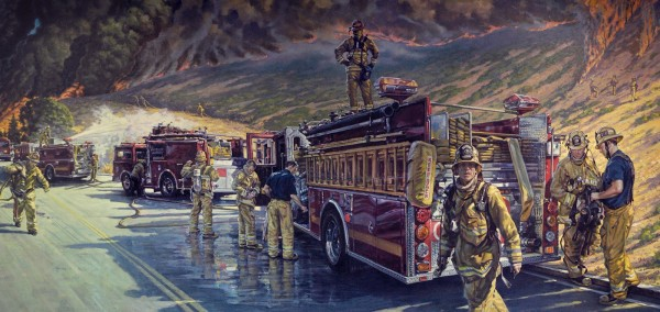 Firefighters Mural detail by Garin Baker
