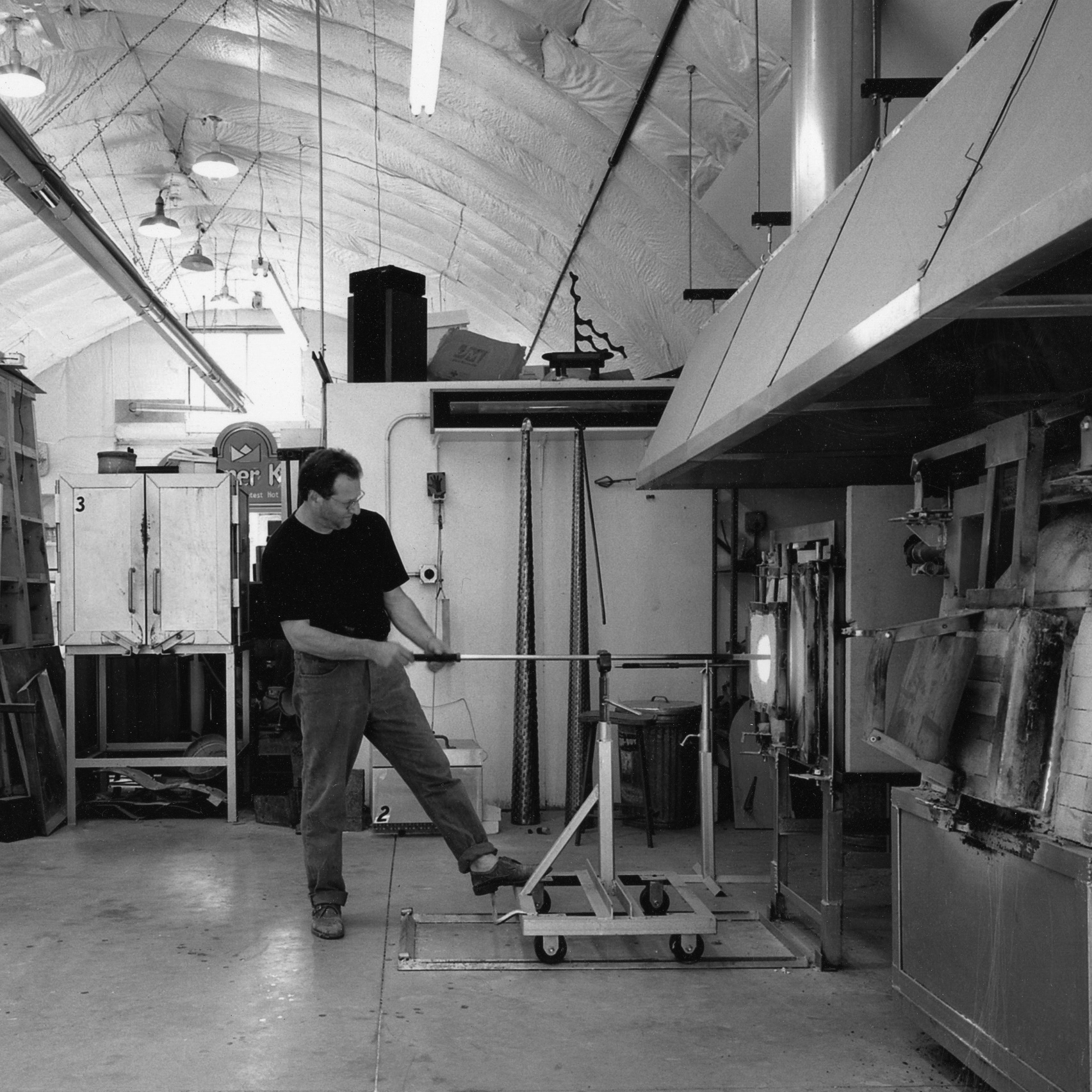 Glass artist Steve Feren in his studio.