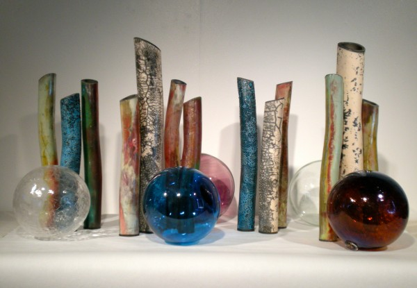 Coral & Floats, raku ceramic and glass, 2013.