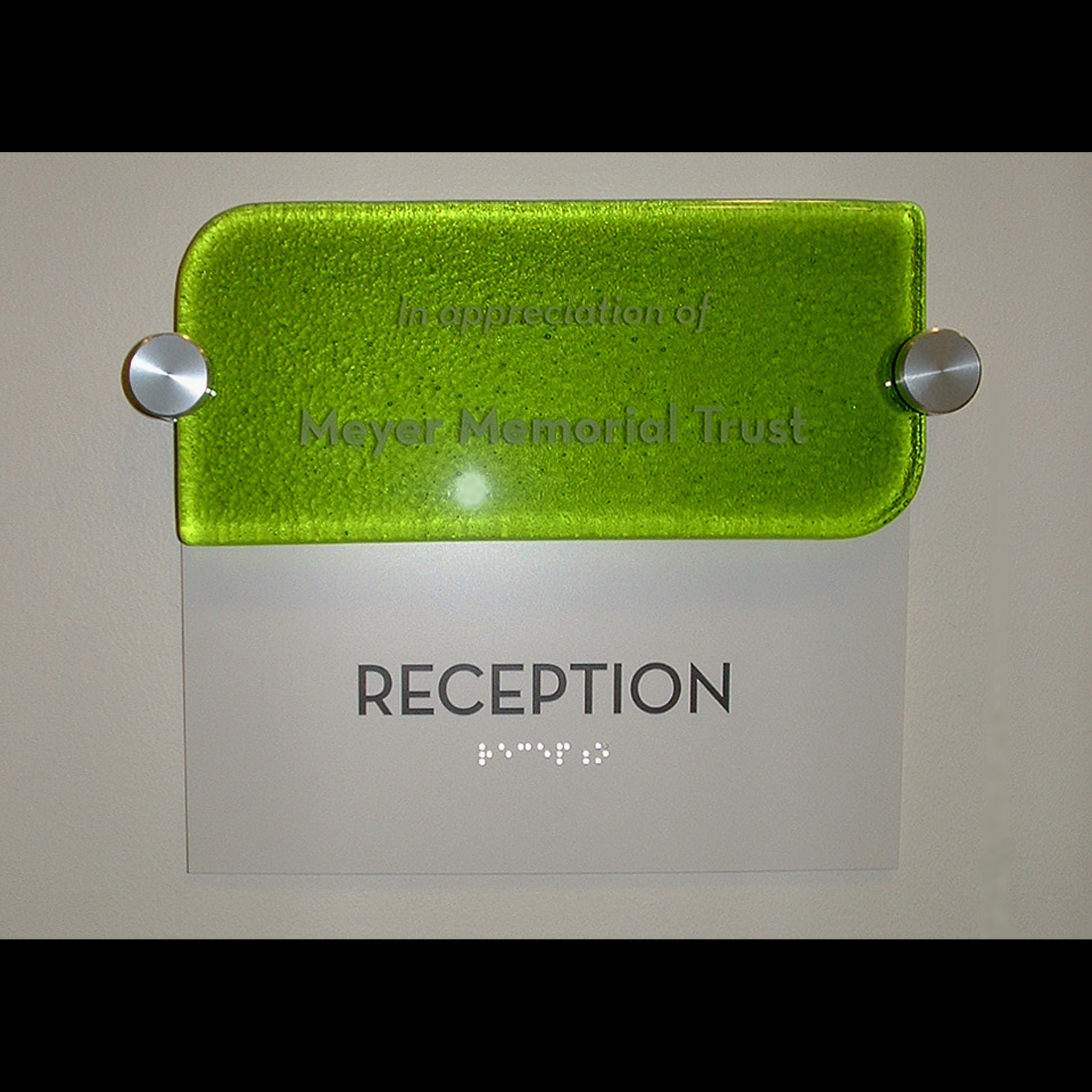 Glass Donor Sculpture and Room Dedication Tiles