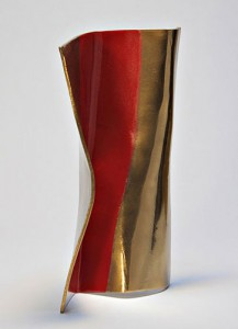 """Movement Location: Artist's' collection Sculpture Size: 12""""X7""""X3"""" Material: Mirror Polished Bronze and Automobile paint Comment: Inspired by the pose of a modern dancer."""