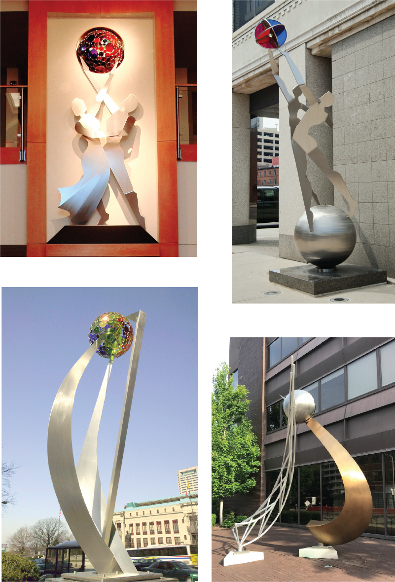 "The dancing figure and the sphere are primordial forms that repeat a visual mantra of aspiration and inspiration. The history of the sites is also often reflected in the composition of the sculptures. Clockwise from top left: ""Balance"", ""Recovery"", ""Crossroads of Commerce"" [photo credit: Canneto Studios] and ""Quest"" [photo credit: Larry Hamill]"