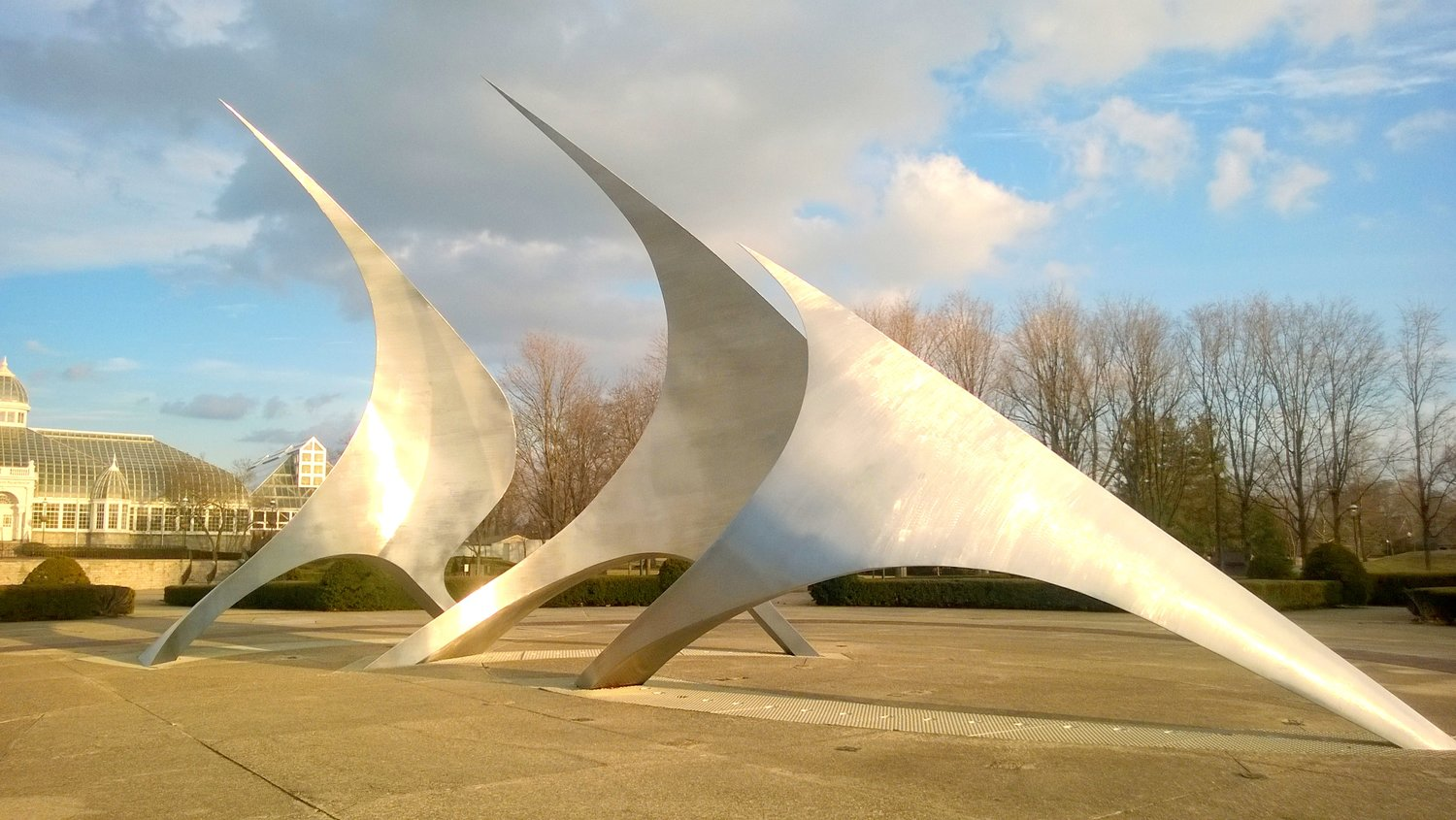 """NavStar"", one of Canneto's most well-known large scale public works exemplifying his signature dancing forms. [photo credit: Canneto Studios]"