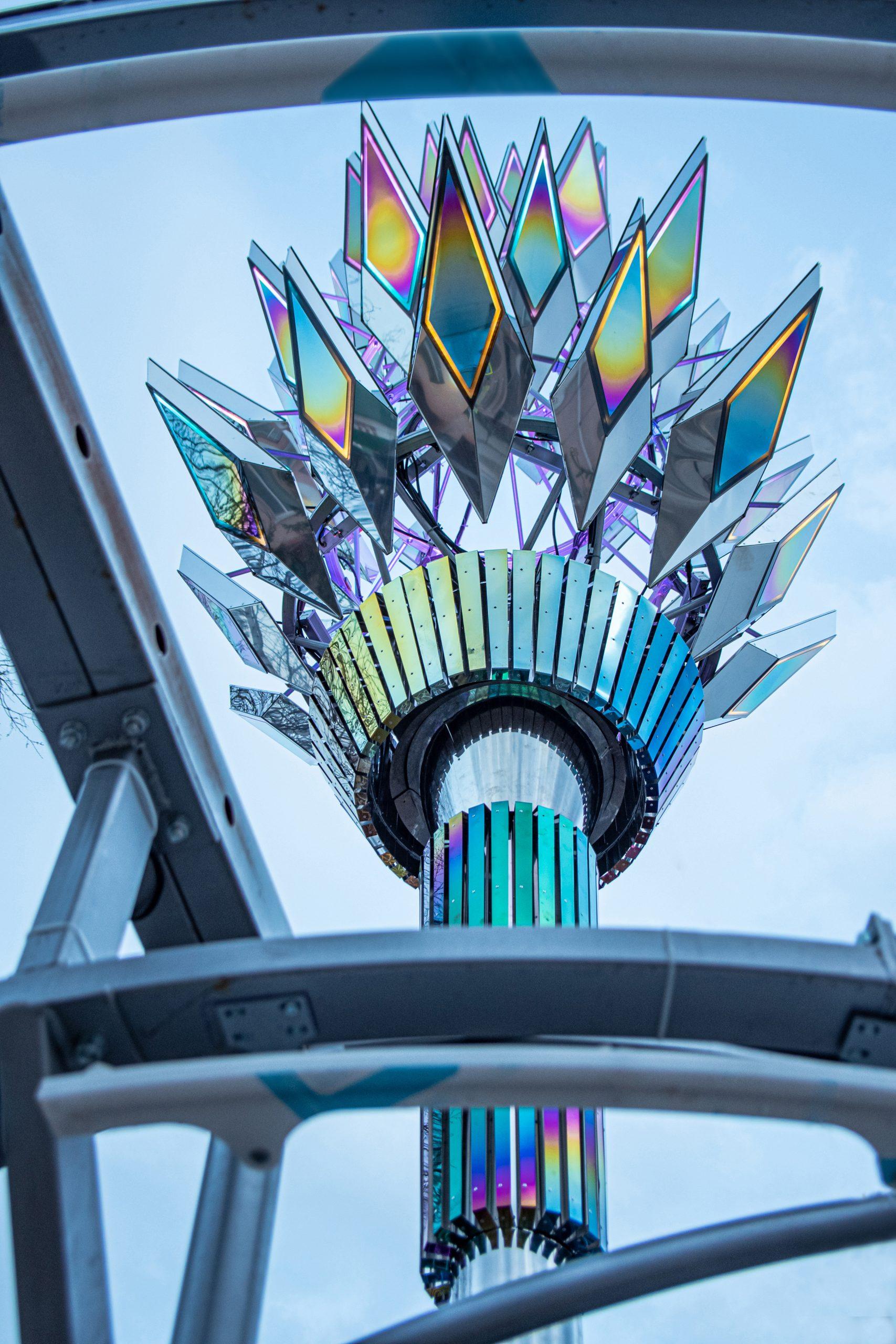 """Solar Facula"" sculpture with observation deck."