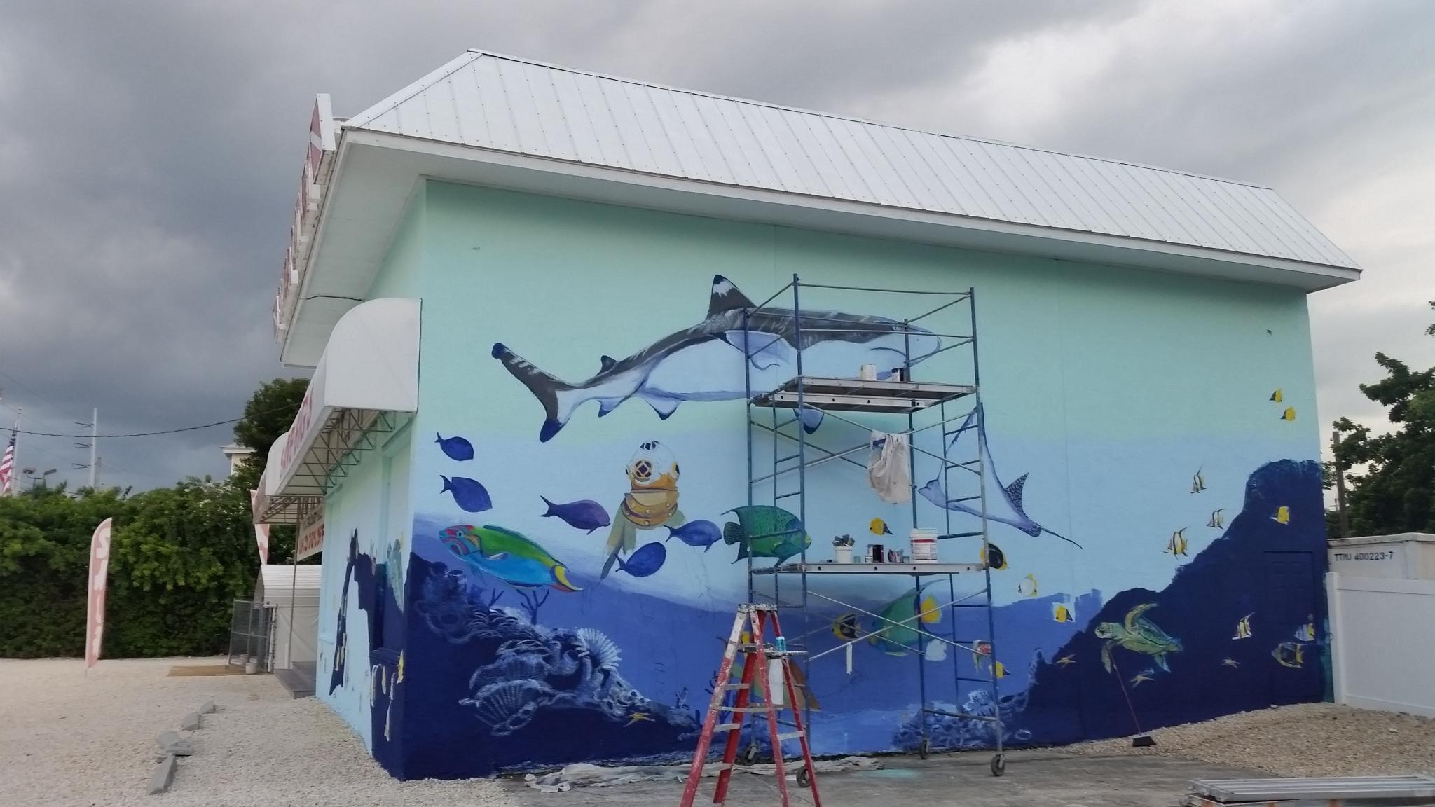 Sea Life Building Mural