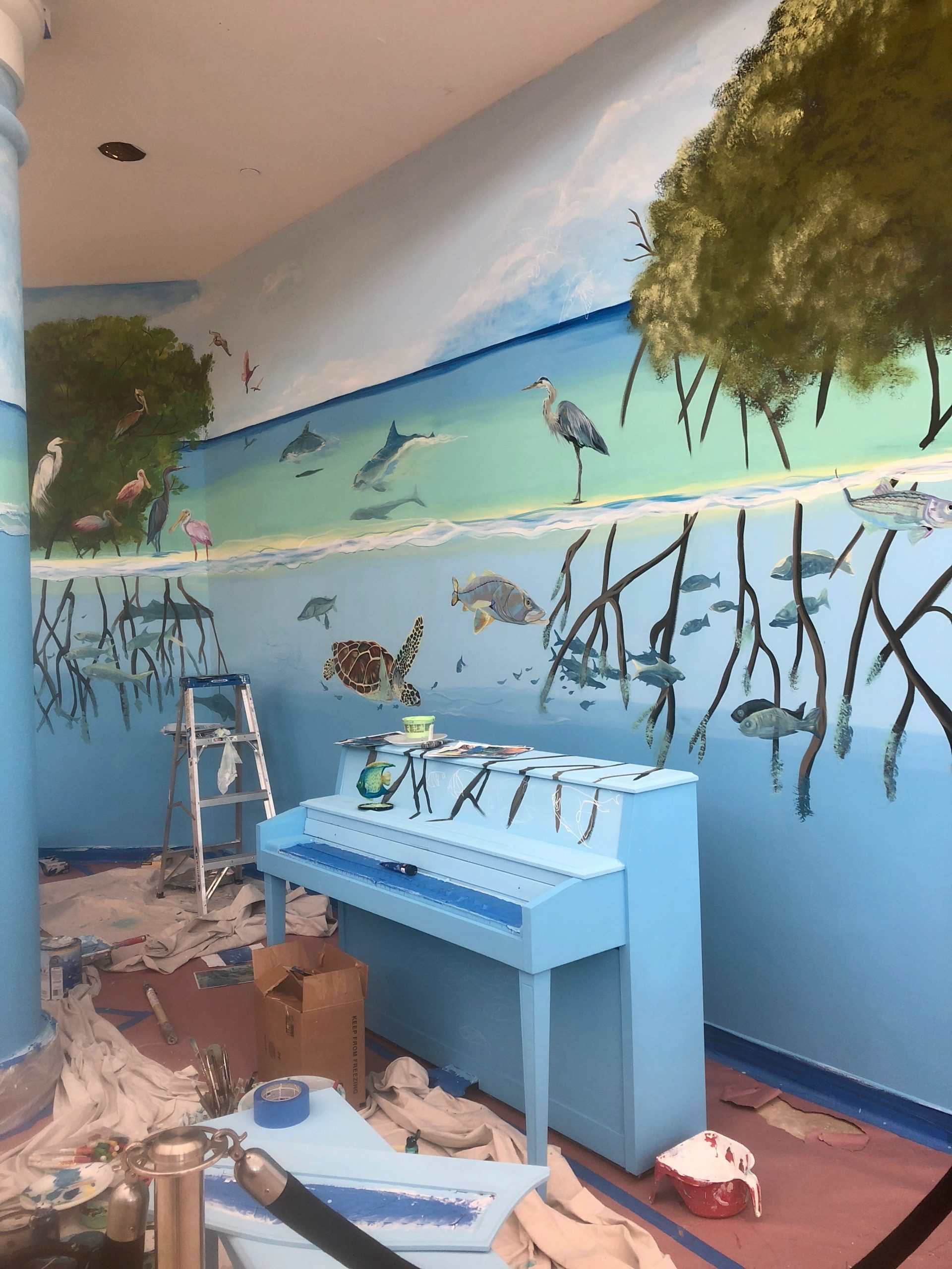 Local bird and marine life mural
