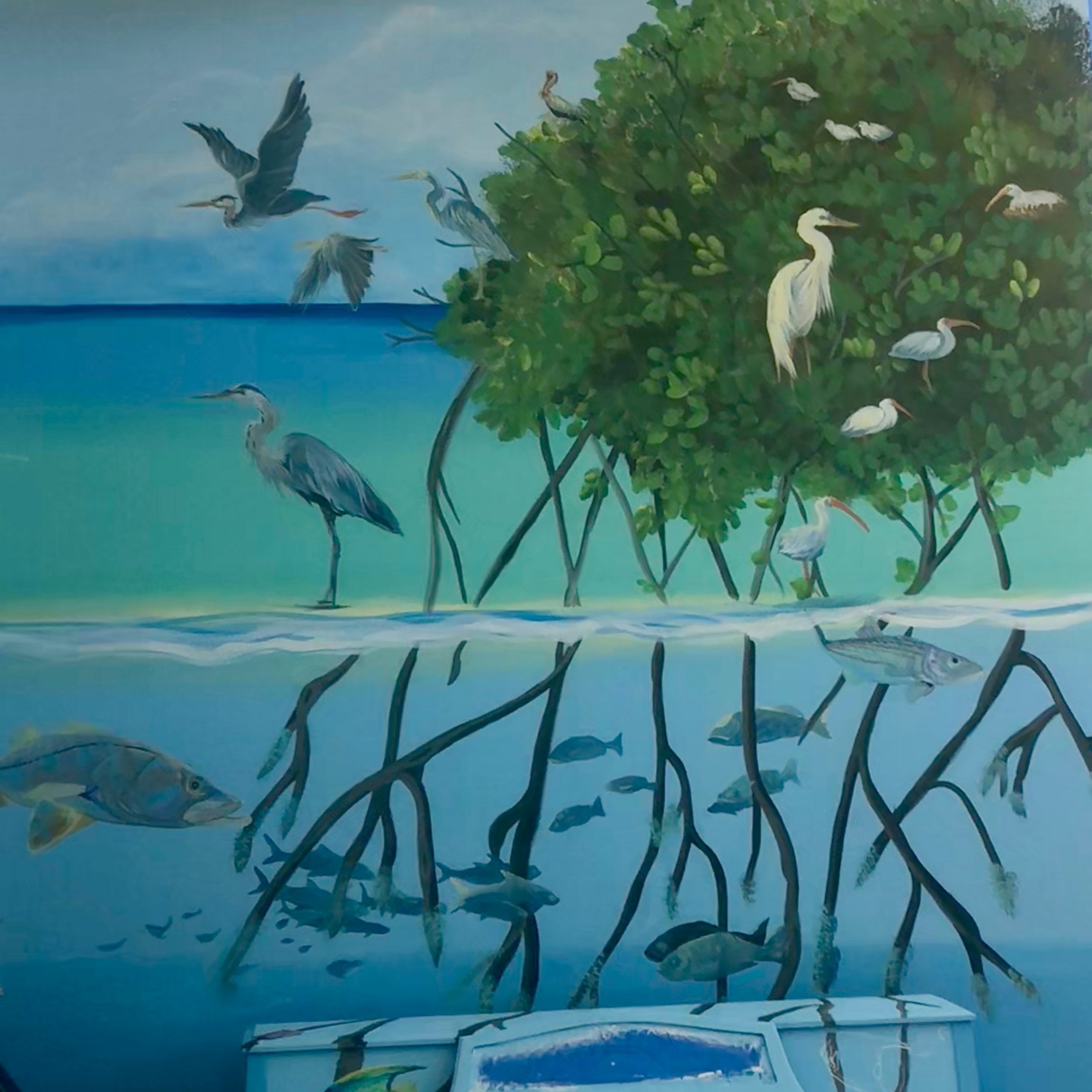 Local bird and marine life mural