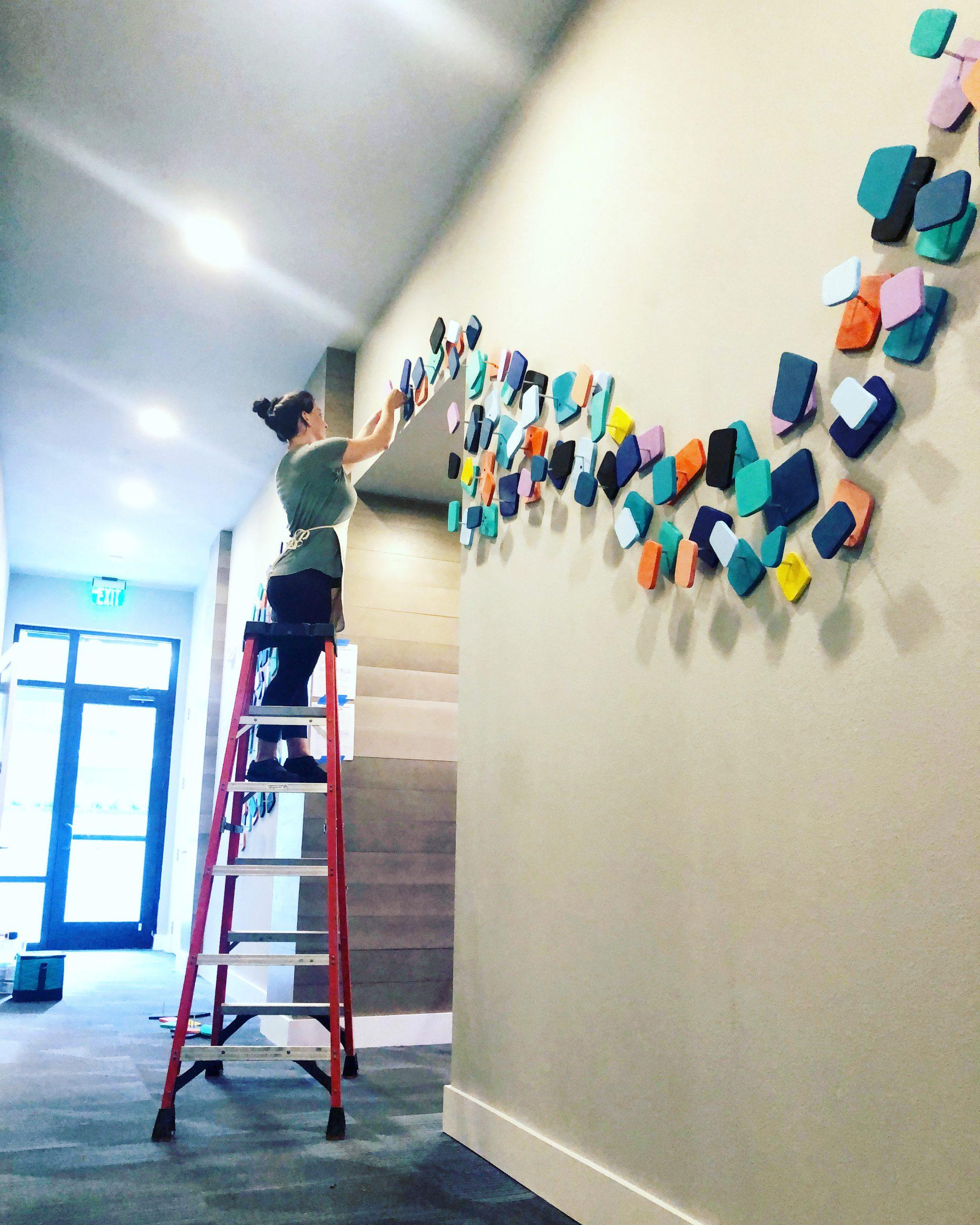 1701 Central Ave Apartments – $9,000 – 2020 – wood, paint, aluminum rod – 20′