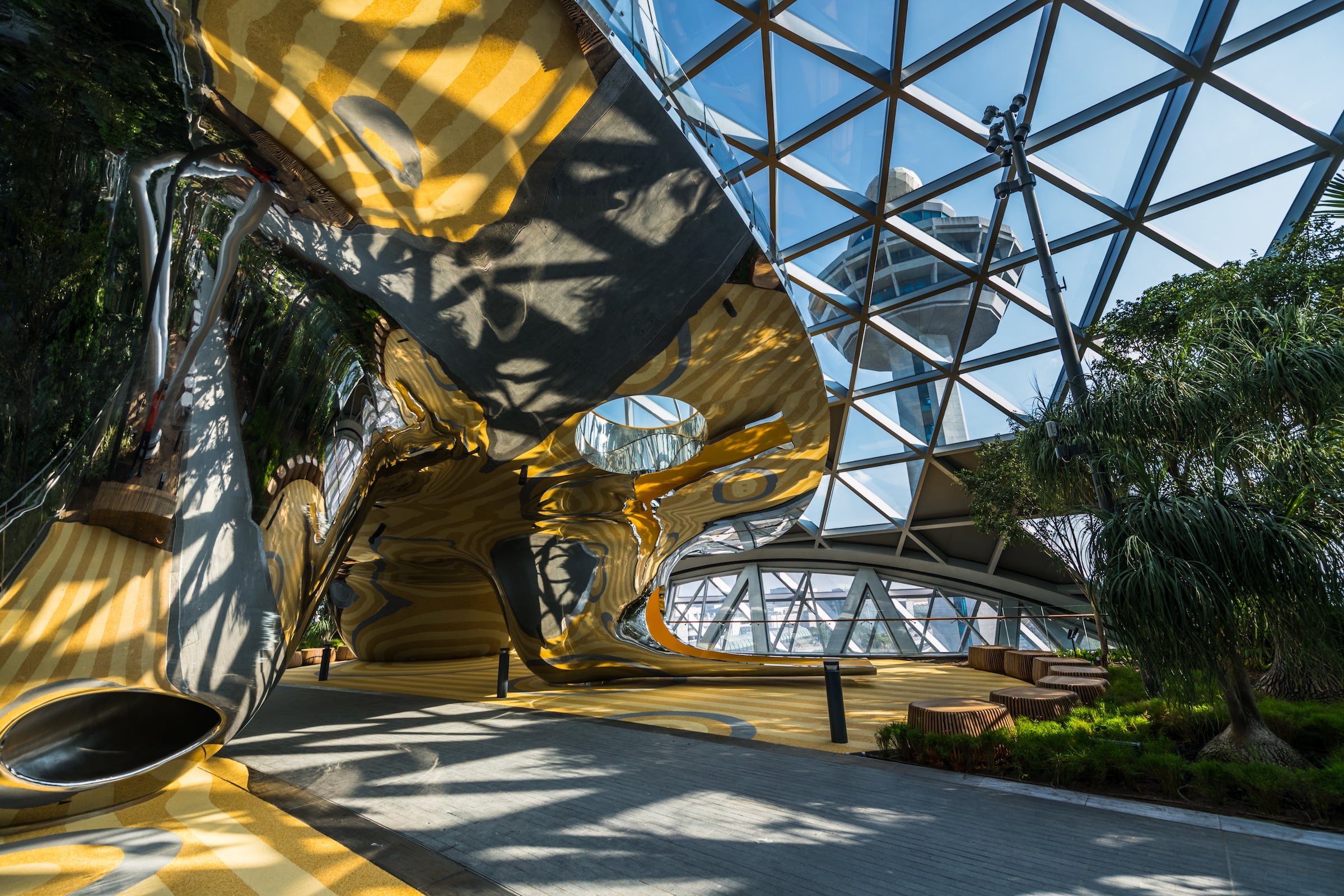 Discovery Slide at Jewel Changi Airport, Mirror stainless steel slides manufacturer