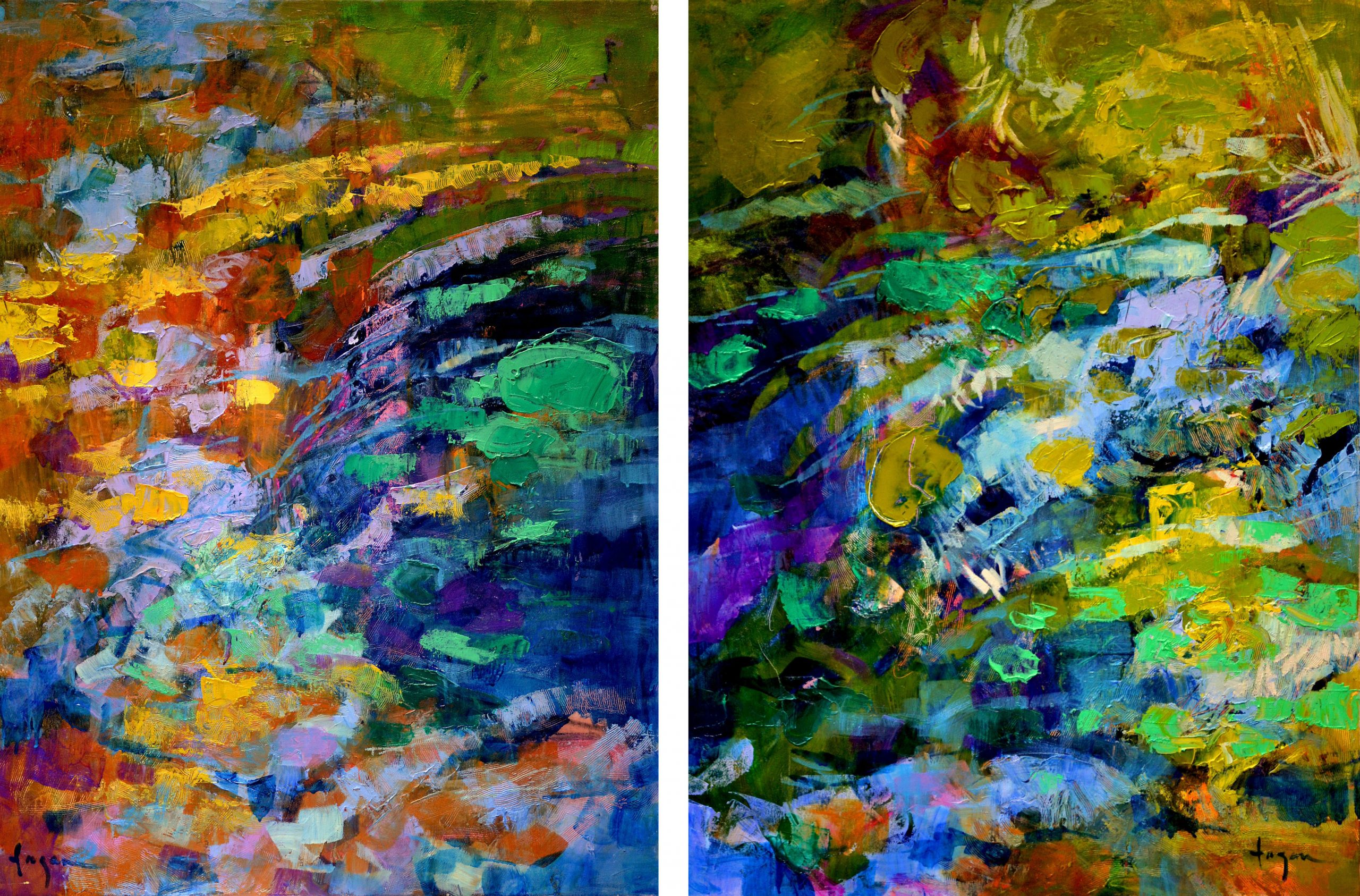 Water Theme Blue Abstract Landscape Paintings