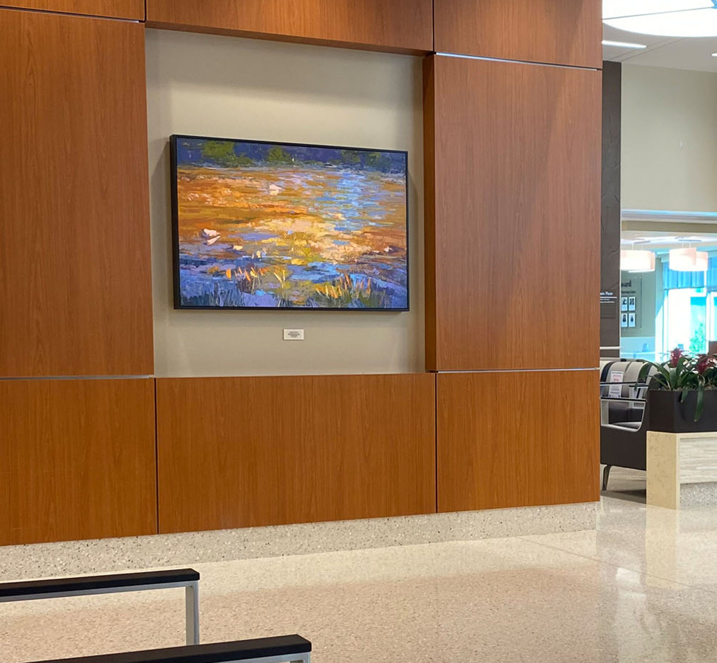 River Abstract Landscape Painting, Earth Tone Hospital Lobby Niche with Enhanced Giclee Canvas