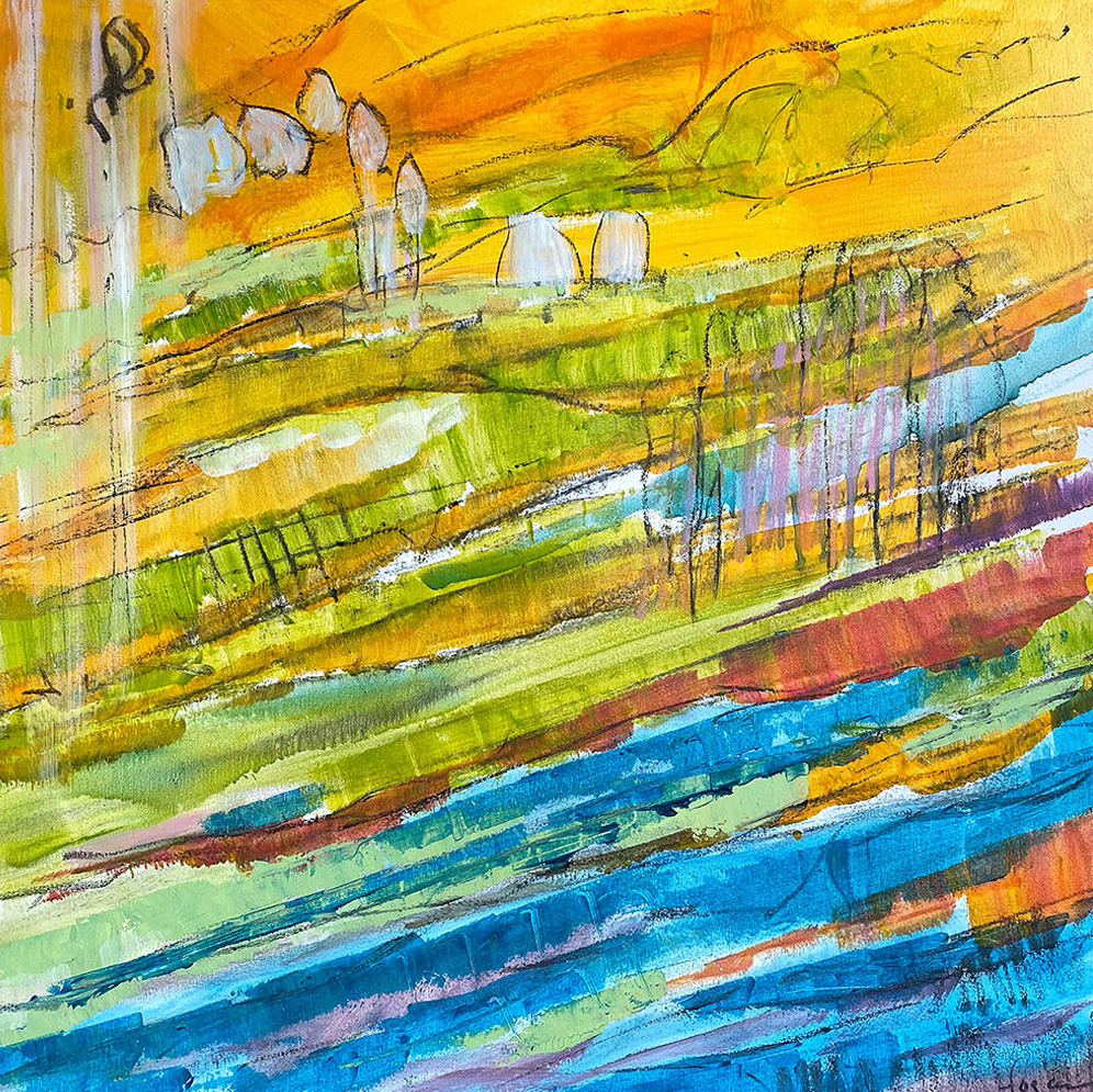 River Theme Mural for Corporate Lobby. Yellow Landscape Abstract Painting