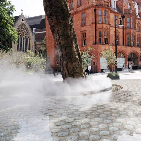 "Fountain Fog Effects Enchant at Tadoa Ando's Masterful water feature ""Silence"""