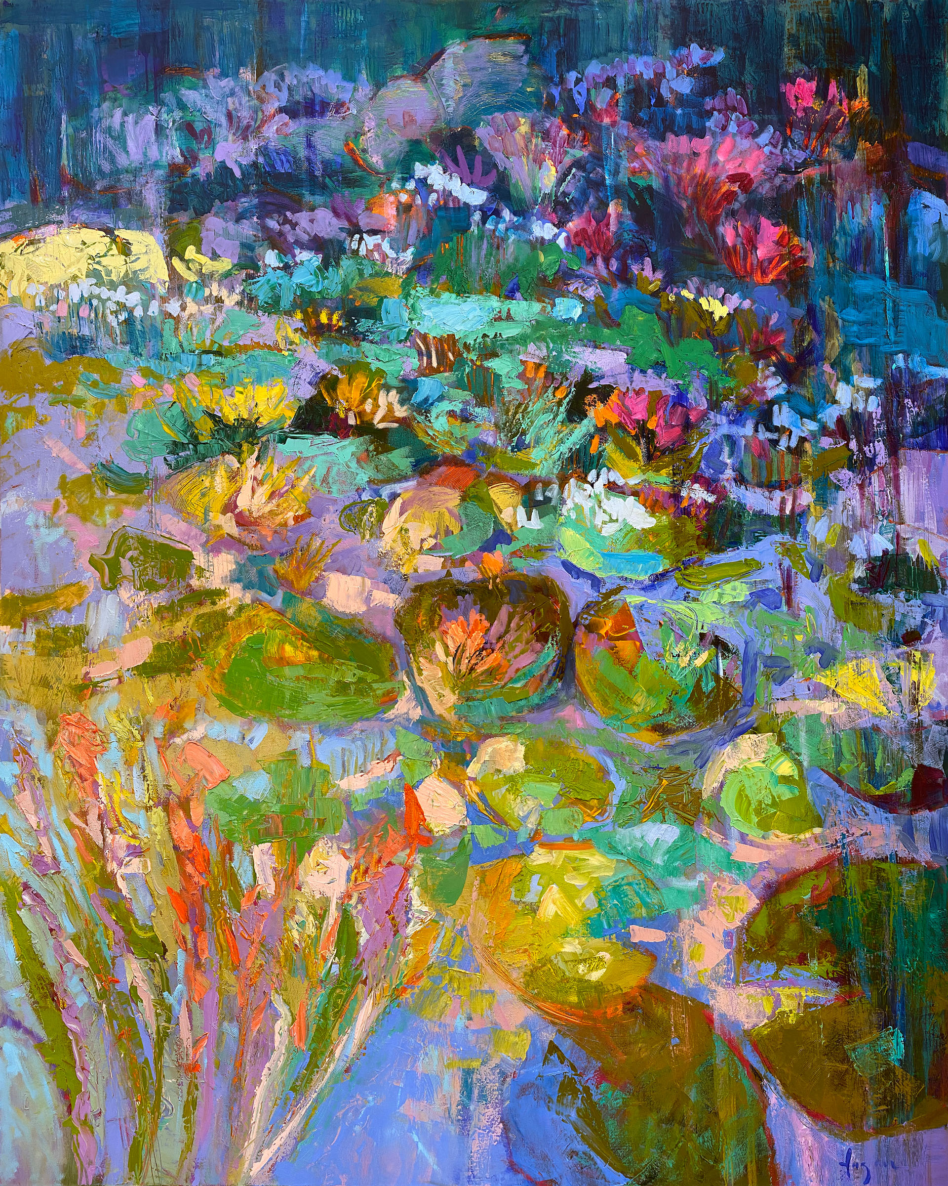 Oversize Abstract Floral Oil Painting for a Marble Fireplace. Waterlilies in a California Desert Residence