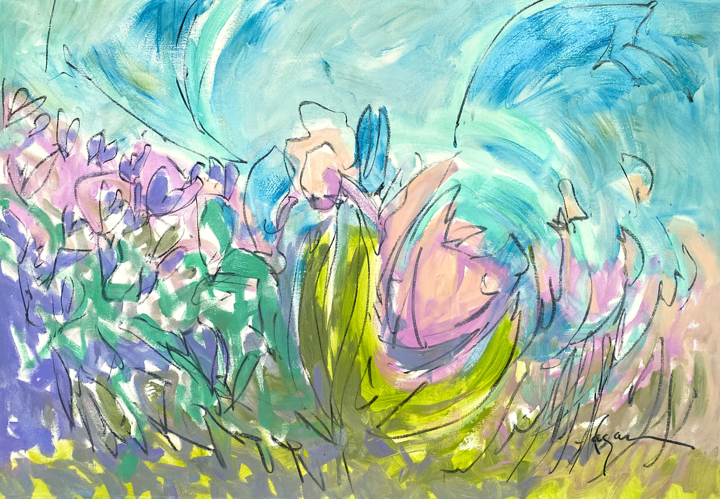 For Budget Conscious Client, Oversize Landscape & Floral Paintings on Rolled Canvas