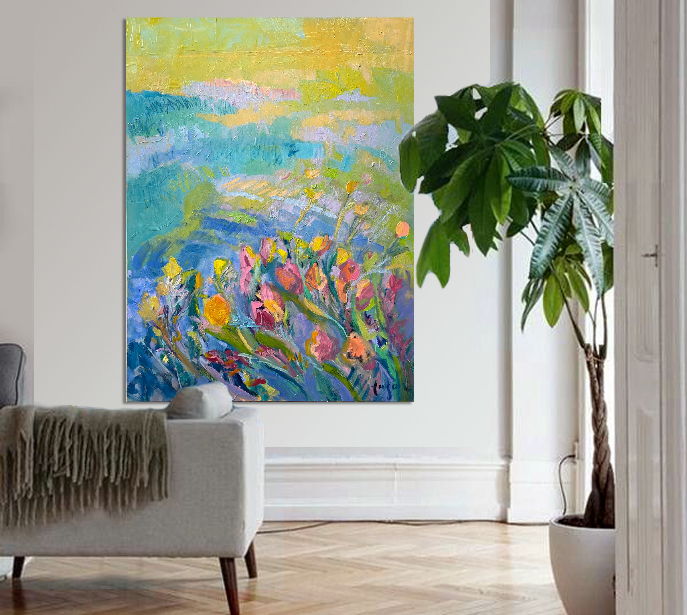 Oil Paintings Heal with Color in a Spa Resort Hotel. Multi-Canvas Abstract Floral Landscapes