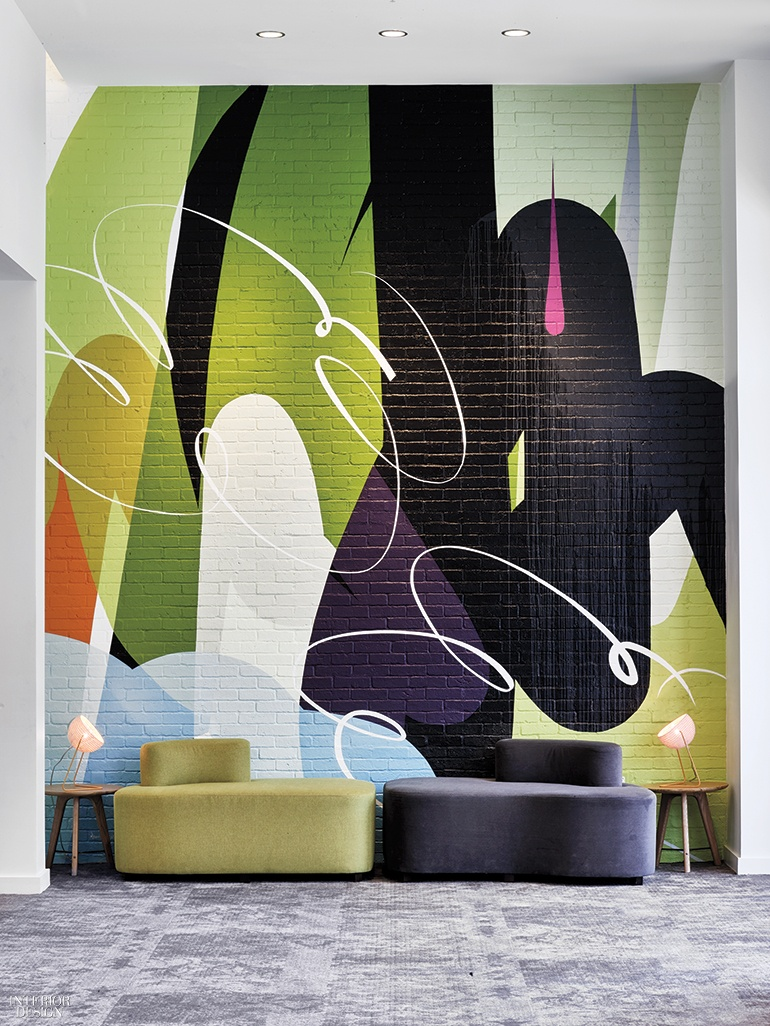Interior mural, Renaissance Hotel Atlanta Airport, 14′ x 10′, 2017.