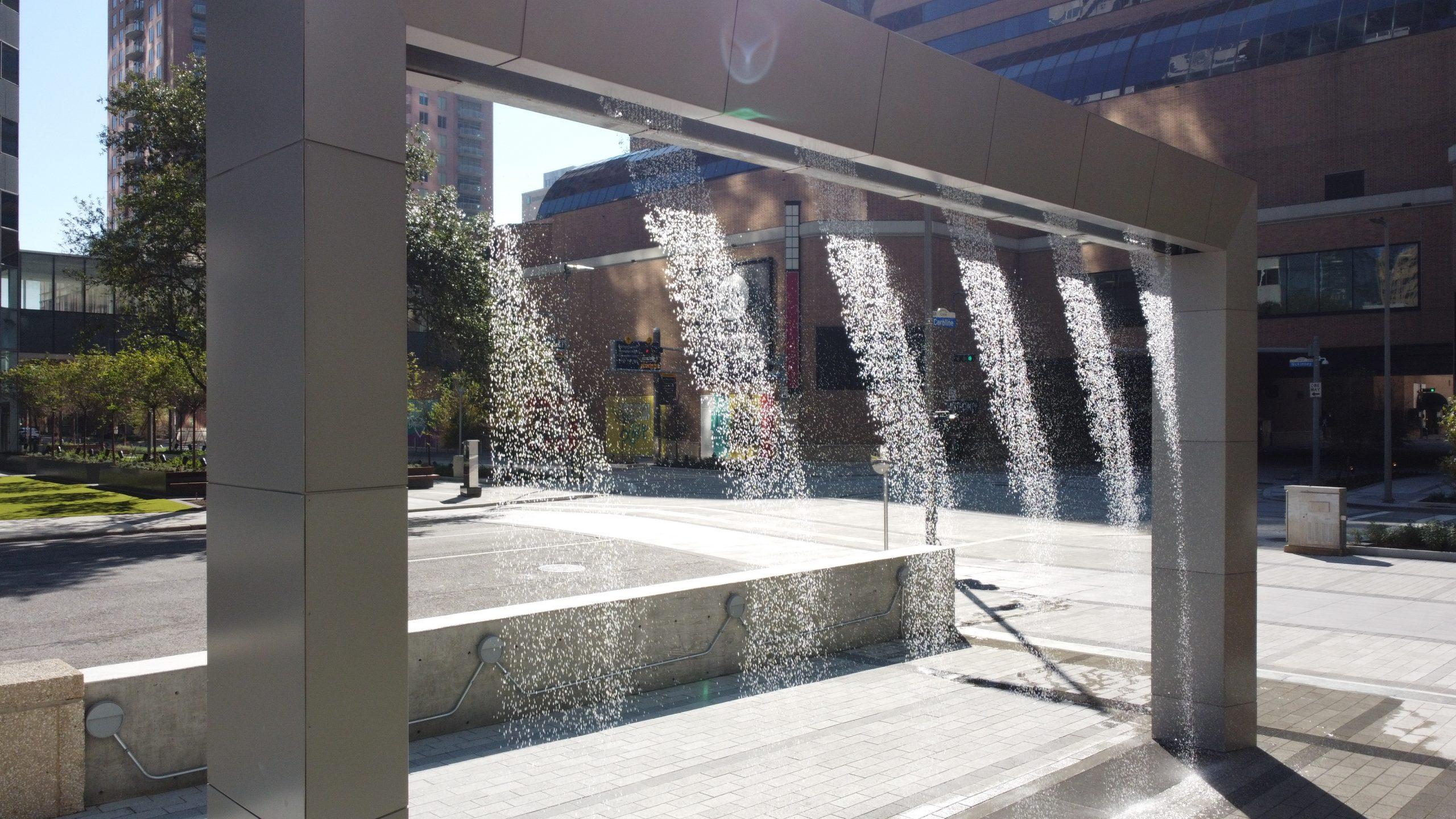 Digital Water Curtain at Houston Center