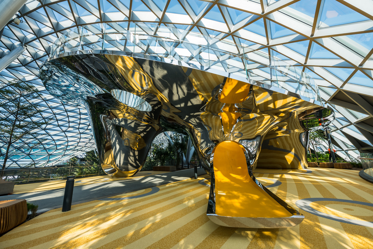 Dual curved stainless steel Facade, Stainless Steel Cladding, Discovery Slides at Jewel Changi Airport, Singapore