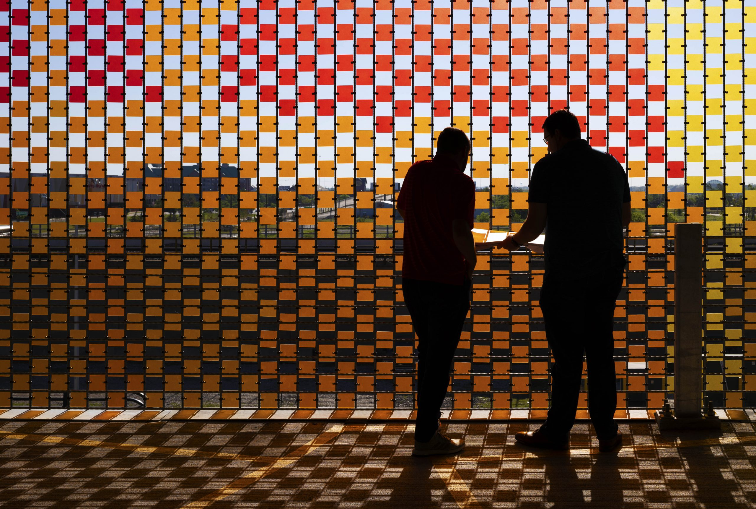 """""""What Is The City But The People""""  89,000 Polycarbonate Tiles and Stainless Steel Cables, 30,000 sq.ft"""