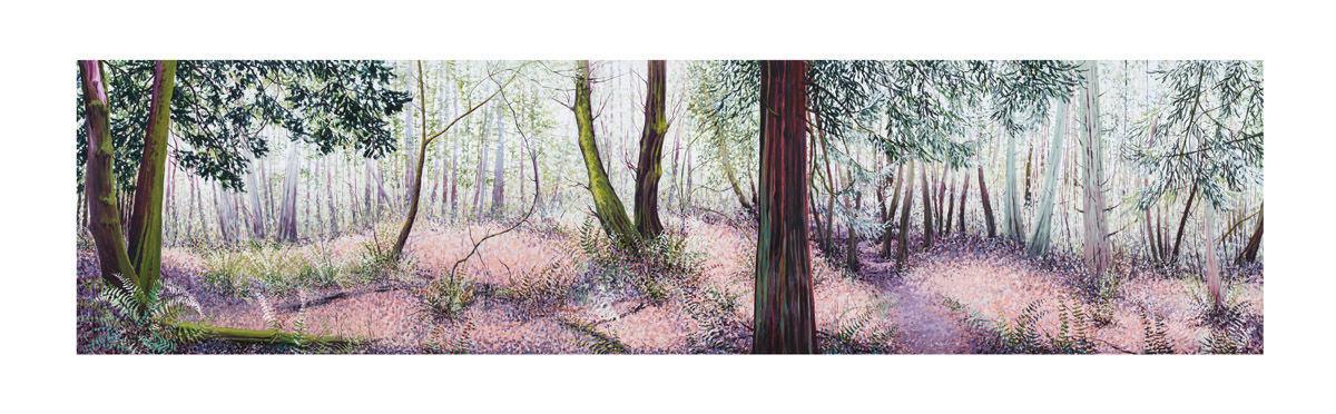 Powell Butte Path, acrylic on canvas, 5'x20′