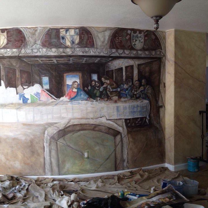 Last supper replica mural