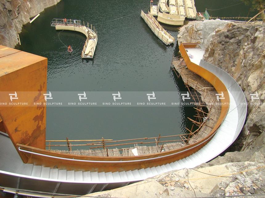 Curved corten steel facade