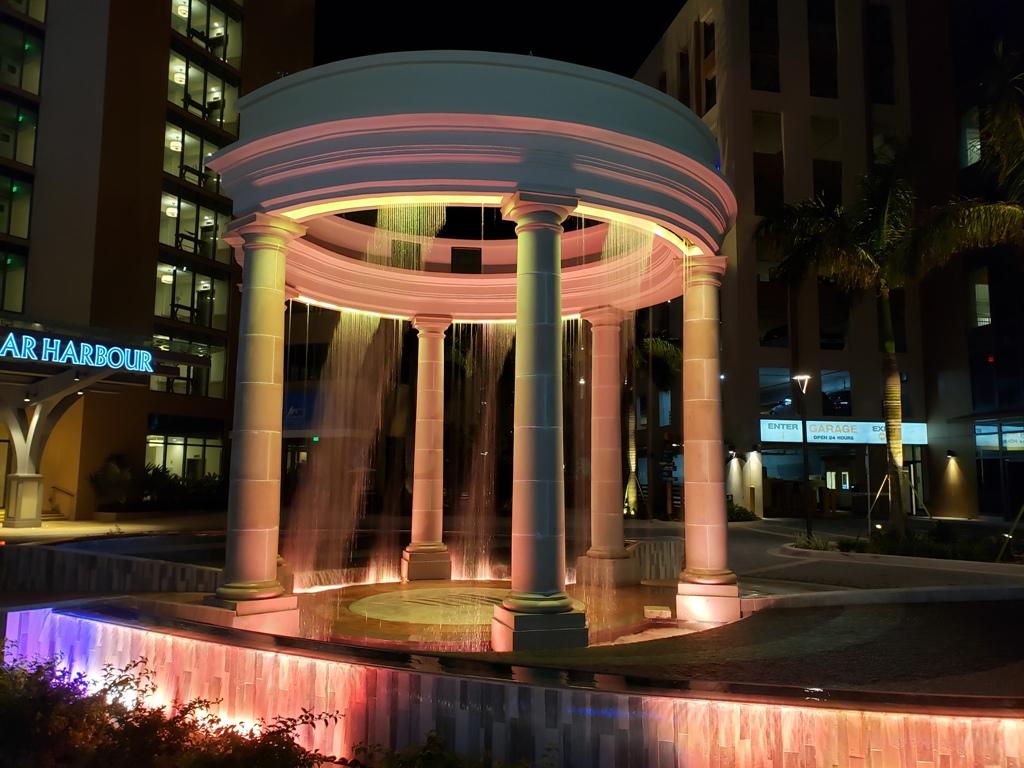 Circular Digital Water Curtain at The Pointe. Bahamas.