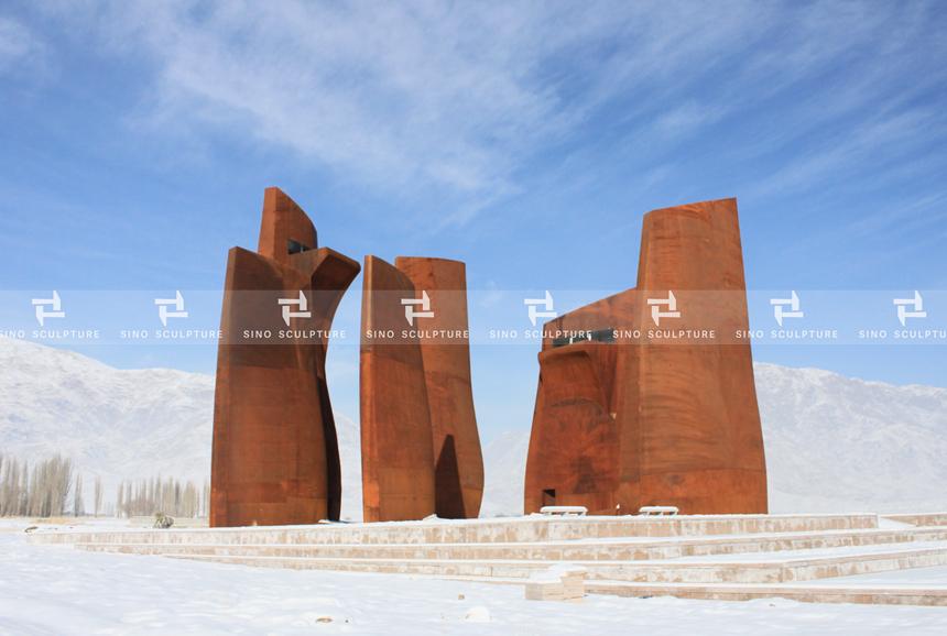 Large Corten Steel Facade Architecture for Museum-Malan Flower
