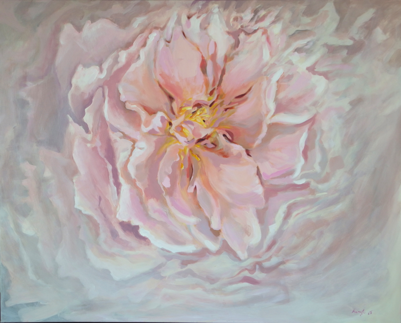 """""""Pink makes me happy"""" Floral Paintings in restaurant"""