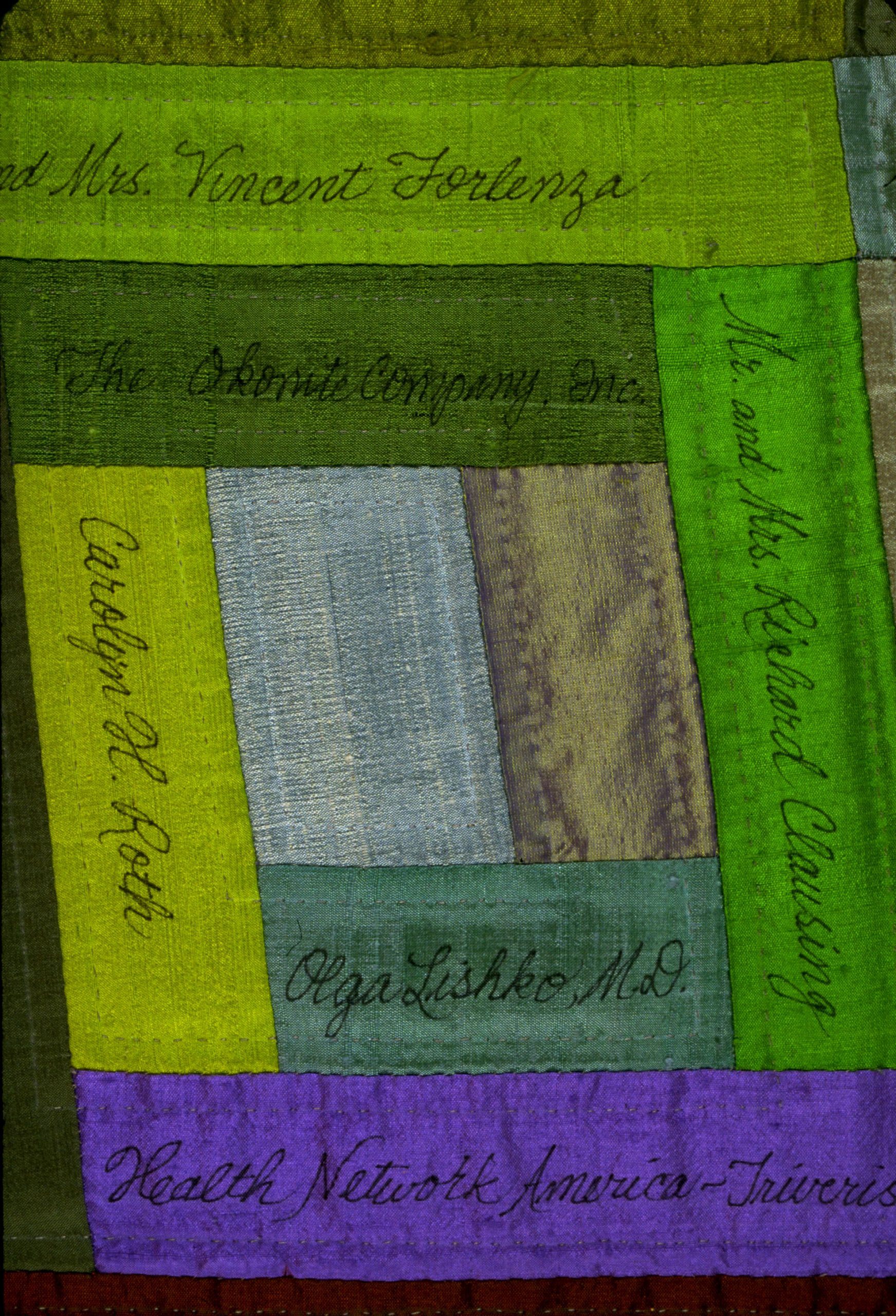 Donor recognition hand quilted wall art
