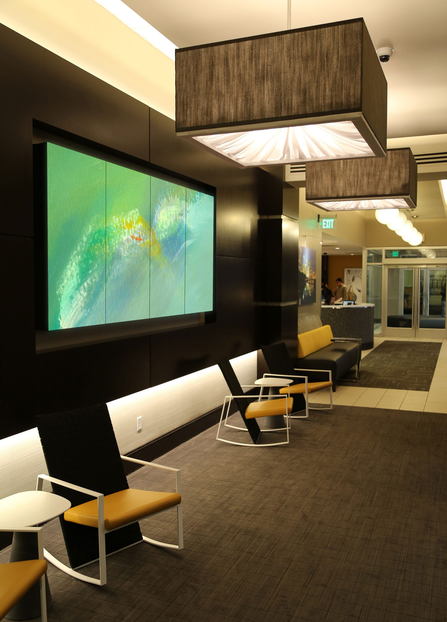 Apartment Building Lobby, video walls, Fine Art in motion