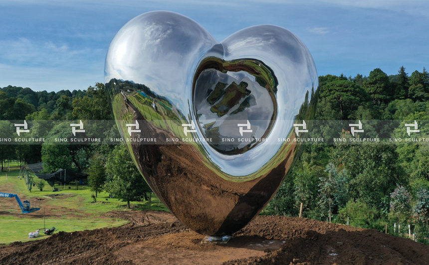 Contemporary Stainless Steel Love Me Sculpture