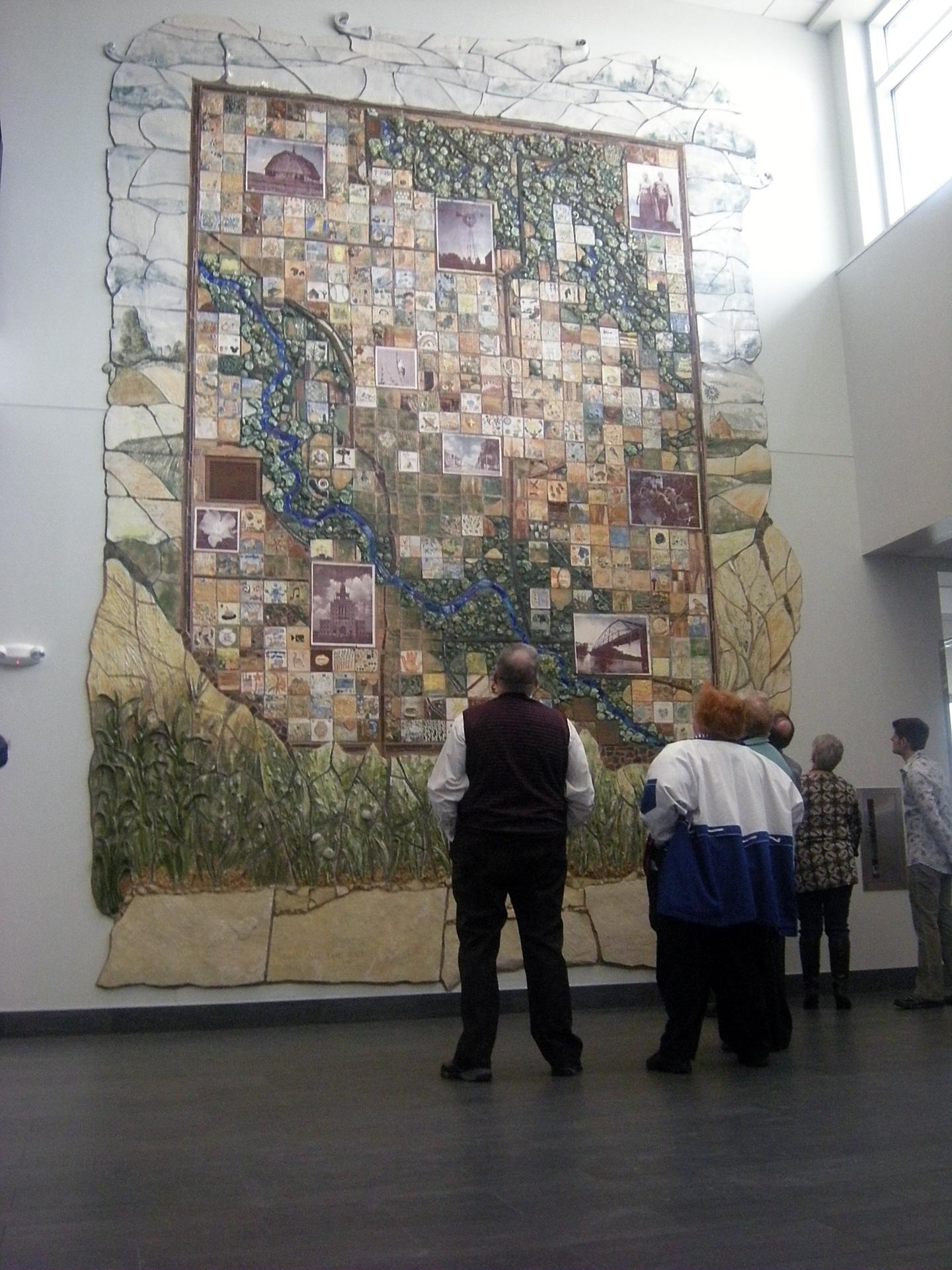 The Sense of Place – ceramic mural at Linn County Community Services Building, Cedar Rapids, IA, USA