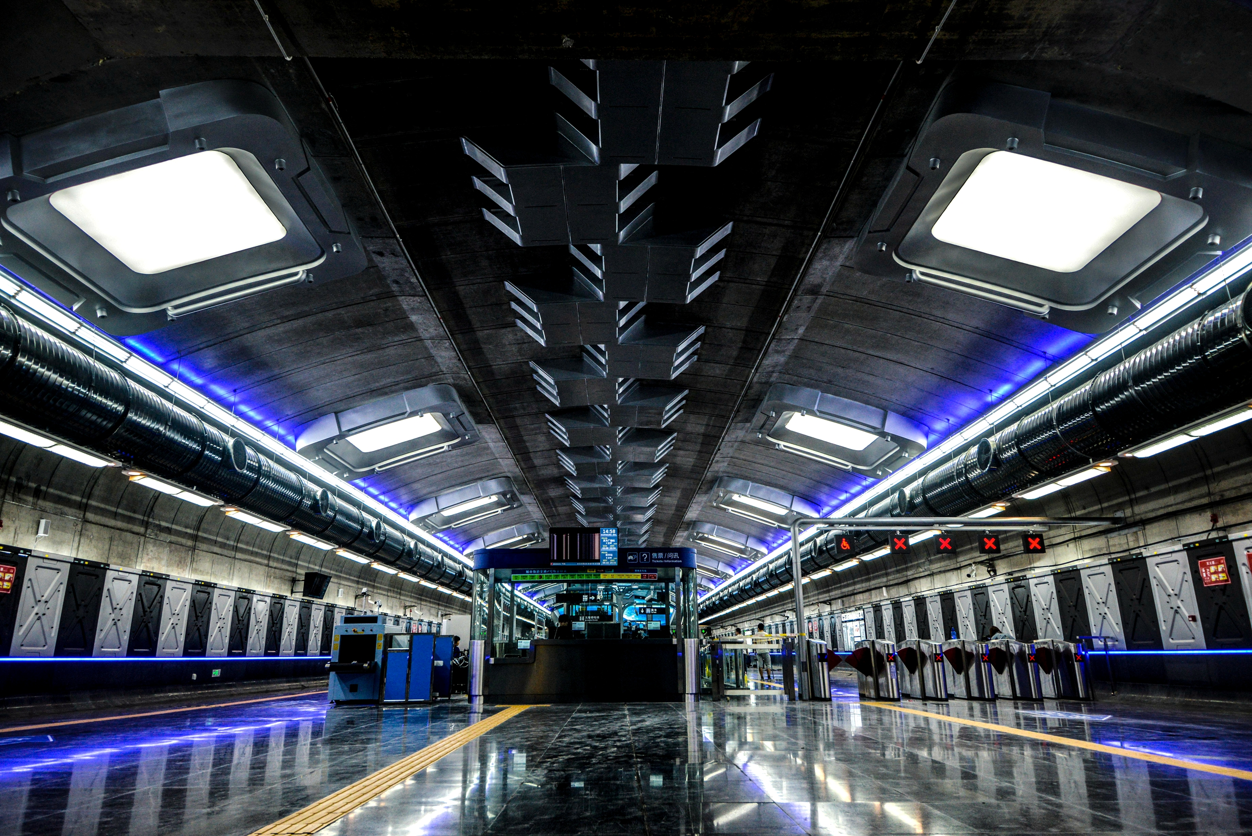 Nano Spraying Colored Stainless Steel Sculpture in Changchun subway