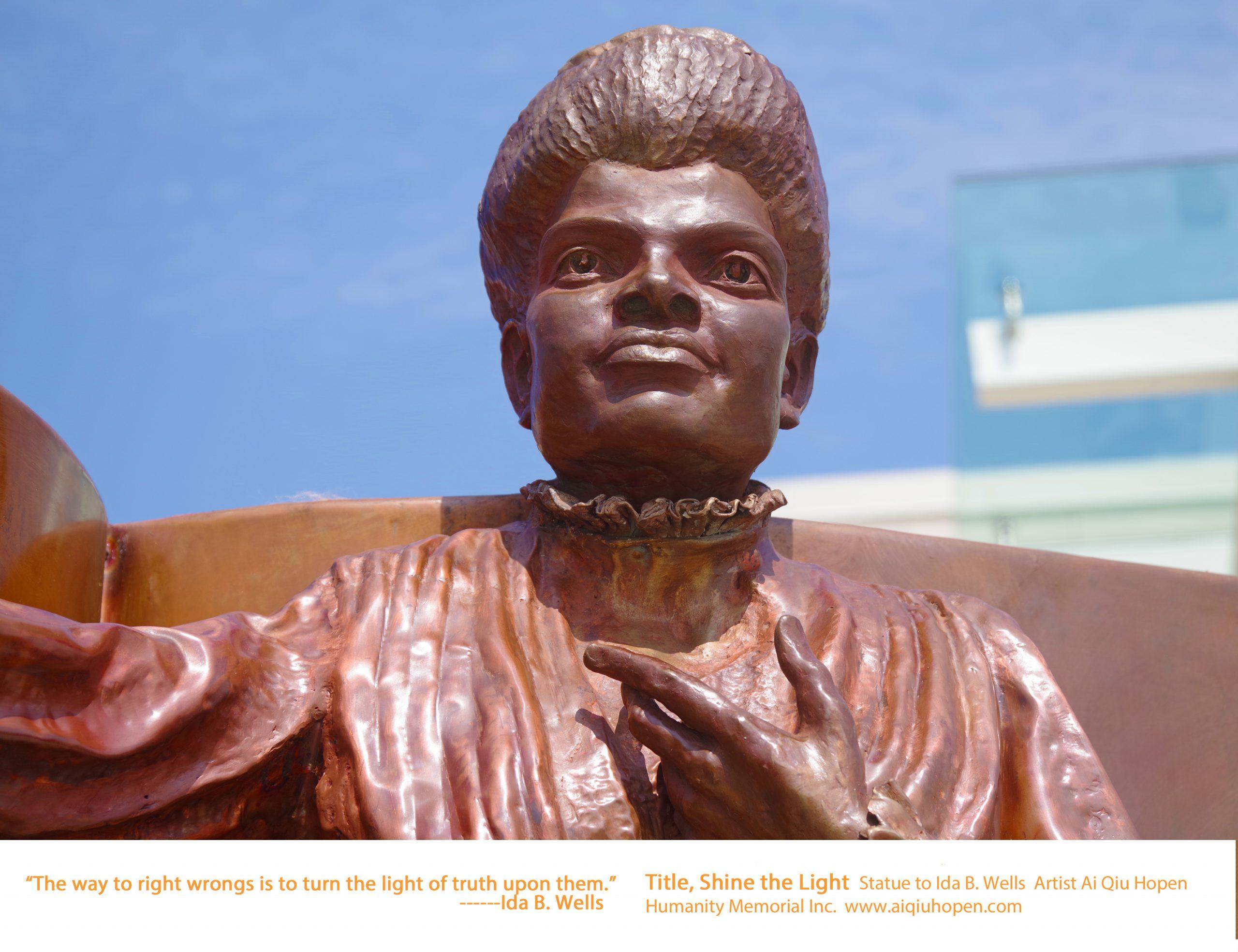 Civil Right Icon Shine the Light Statue to Ida B. Wells, Capital Ida B. Wells Middle School, Washington DC